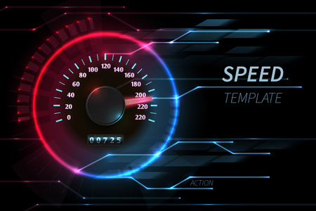Speed motion line vector abstract tech background with car racing speedometer