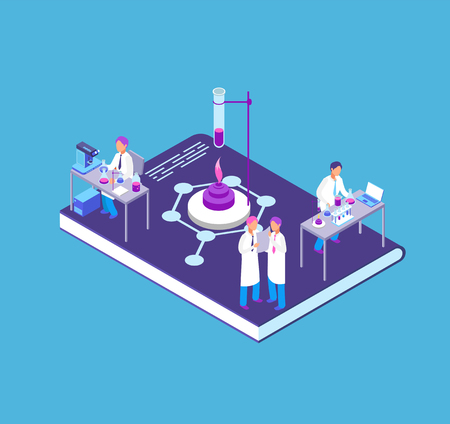Chemistry, pharmaceutical 3d isometric concept with chemical laboratory equipment and people research scientist vector illustration Illustration