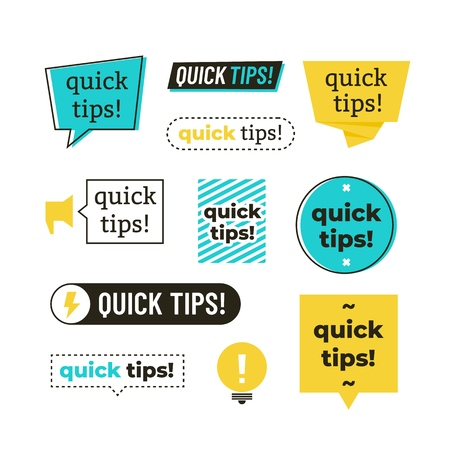 Advice, tip, quick tips, helpful tricks and suggestions sign, emblems and banners vector set isolated