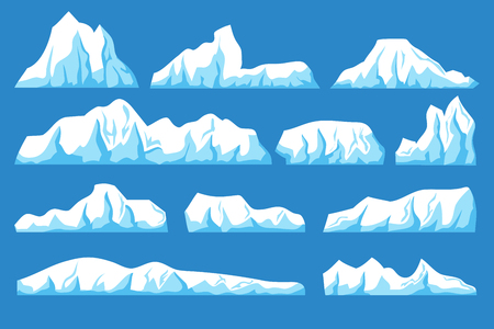 Cartoon floating iceberg vector set. Ocean ice rocks landscape for climate and environment protection concept  イラスト・ベクター素材