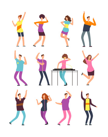 Happy young people dancing. Man and woman cartoon dancers isolated on white background