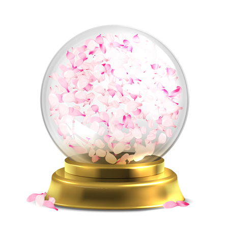 Magic ball with pink petals vector isoated on white backround