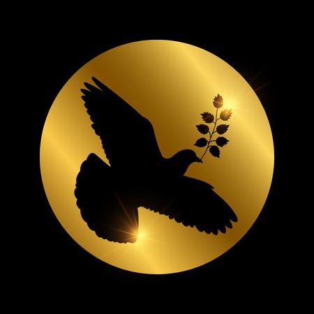 Black dove of piece vector silhouette  イラスト・ベクター素材