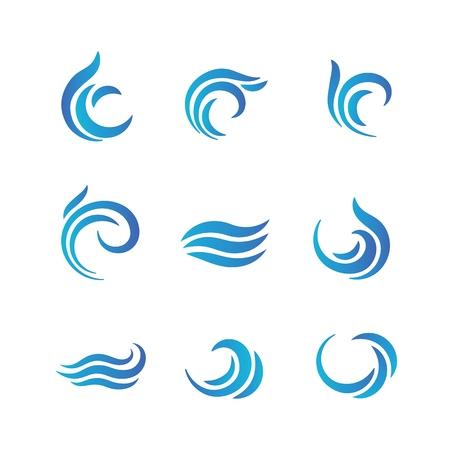 Loghi Wave. Onde di acqua blu con schizzi emblemi vettoriali Vettoriali