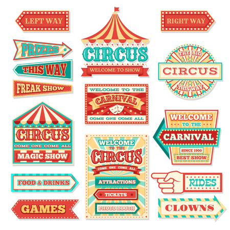Old carnival circus banners and carnival labels vector set Vettoriali