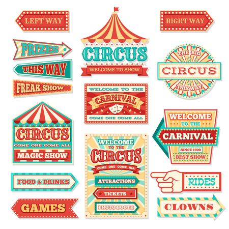 Oude carnaval circus banners en carnaval etiketten vector set Vector Illustratie