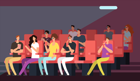 People watching movie in cinema hall interior. Cartoon family in theater vector concept. Audience in interior hall, auditorium in cinema illustration