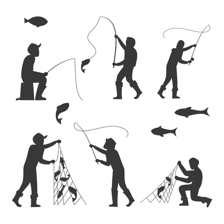 Fish and fisherman silhouettes isolated on white background. Fisherman fishing sport and leisure. Vector illustration 向量圖像