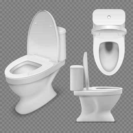 Taza del inodoro. Aseo casero blanco realista en vista superior y lateral. Ilustración de vector aislado. Lavabo limpio, armario de cerámica para baño.