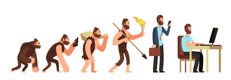 Evolución humana. De mono a empresario y usuario de computadoras. Personajes de dibujos animados vector evolución humana, simio y antepasados ilustración