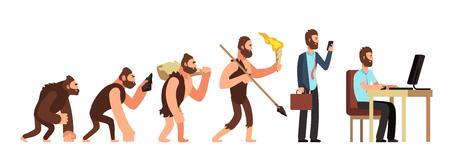 Ewolucja człowieka. Od małpy do biznesmena i użytkownika komputera. Ilustracja kreskówka wektor znaków ewolucji człowieka, małpy i przodków