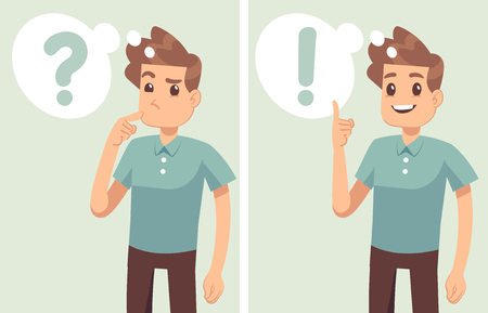 Slimme jonge man, student denken, begrijpt probleem en vindt succesvolle oplossing, vector stripfiguren geïsoleerd. Jonge man karakter oplossing en denken illustratie
