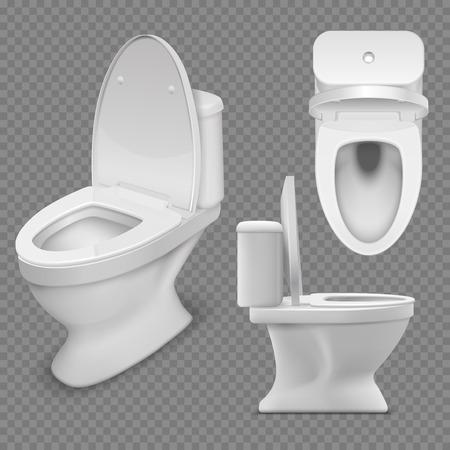 Toilettenschüssel. Realistische weiße Haupttoilette in der Draufsicht und in der Seitenansicht. Isolierte Vektorillustration Vektorgrafik