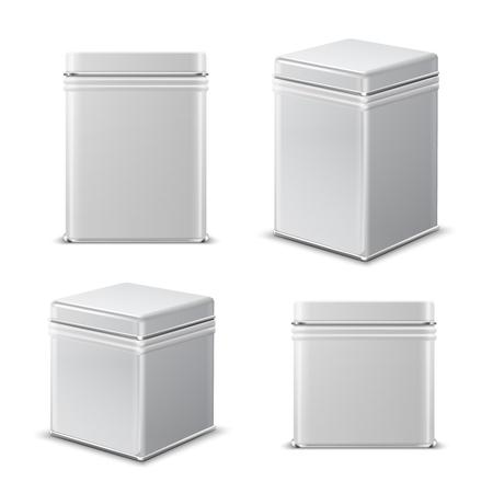 Lata. Recipiente rectangular de metal blanco. Maqueta aislada del vector del paquete del producto alimenticio. Maqueta de caja en blanco de acero, bote y jarra para ilustración del producto