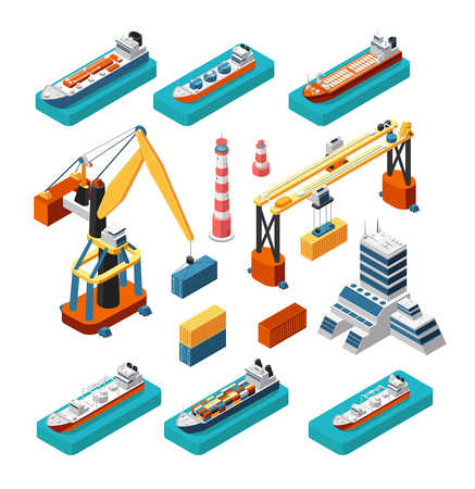 Isometric 3d ships, cranes, sea port building, lighthouse and shipping containers vector marine logistic set isolated. Sea crane and industry building illustration Illustration