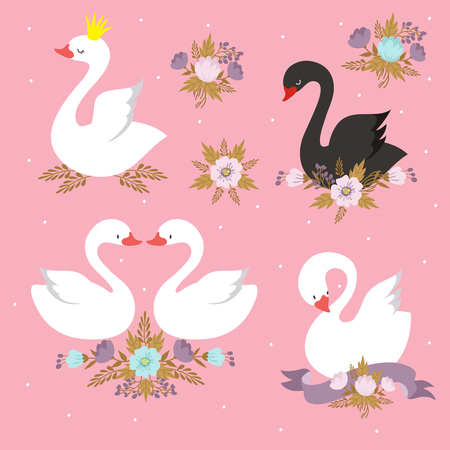 Beautiful white princess swan with crown. Cartoon goose, duck bird vector set  イラスト・ベクター素材