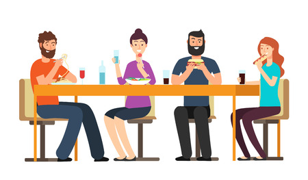 Friends eating snacks. Friendly people group have dinner at desk in restaurant. Cartoon vector characters isolated on white background. Illustration restaurant lunch friendship, young and happy people