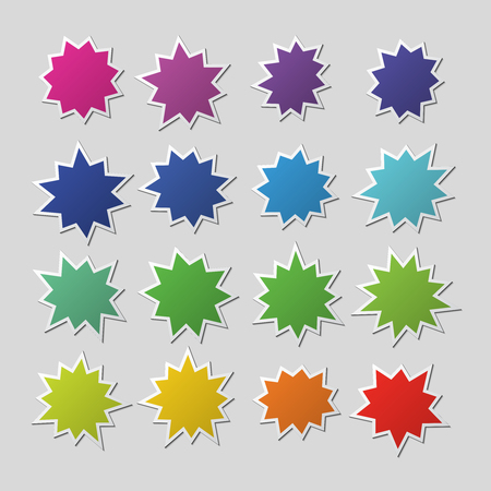 Blank colorful paper starburst balloons, explosion shapes. Cartoon bursting speech bubbles. Boom sale stickers vector set isolated. Starburst and sunburst colored sticker illustration