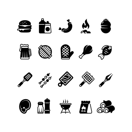 Grill outdoor kitchen icons. Family bbq, summer picnic symbols. Meat and vegetable bbq isolated pictograms. Grill bbq and barbecue meat steak, vector illustration Illustration