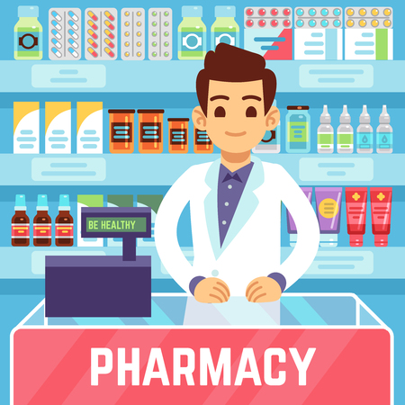 Happy young man pharmacist sells medications in pharmacy or drugstore. Pharmacology and healthcare vector concept. Illustration of medicine and health store
