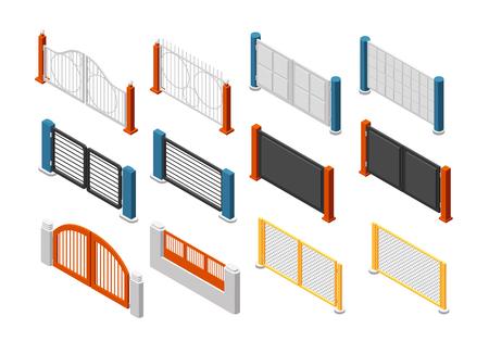 Portones y vallas isométricas. Vallado de finca rural. Conjunto de vectores 3D. Ilustración de la decoración de la pared de construcción, barrera exterior