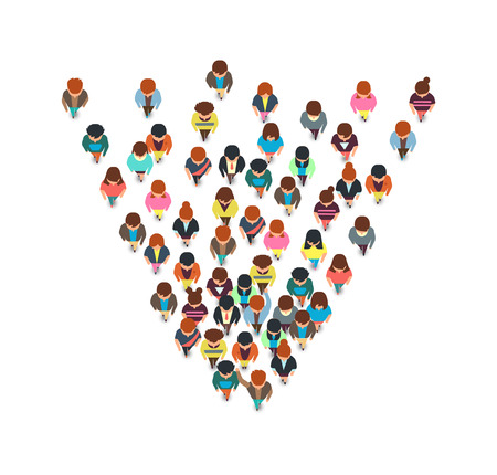 Top view walking people, cartoon man and woman running together vector characters isolated. Illustration of crowd woman and man protest, society audience