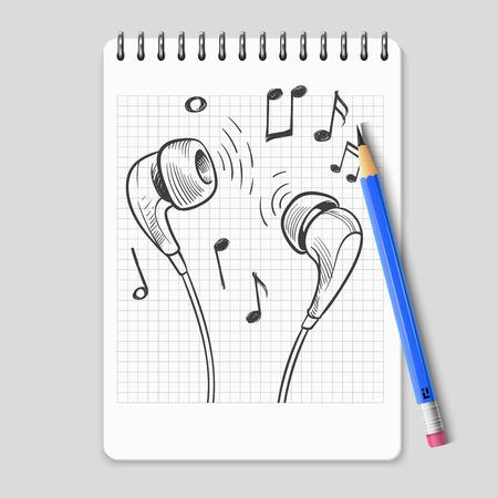 Écouteurs dessinés à la main et notes de musique sur une page de cahier réaliste. Matériel de casque stéréo de croquis de musique, illustration vectorielle