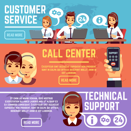 Customer service banners with call center support operators helping customer. Vector set of support call service, online consultant, communication assistance helpline illustration