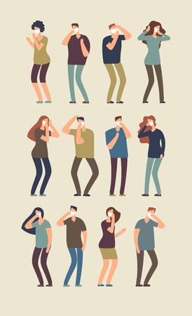 Menschen und Staub. Männer und Frauen in der Maske leiden unter Staub. Isolierter Vektorzeichensatz. Schutzform Gas und Allergie, Grippe und giftiger Staub Abbildung Vektorgrafik