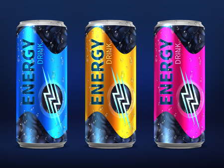 Realistic disposable energy drink cans in different colors of design vector template isolated on white background. Beverage cold in metallic bank illustration