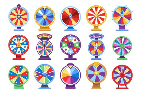 Ensemble d'icônes plates de roues de fortune. Faites tourner les symboles de jeu d'argent de casino de roue chanceuse. Jeu de roue de fortune, jeu de roulette de pari. Illustration vectorielle Vecteurs
