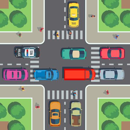 Vista superior de la encrucijada. Intersección de carreteras con cruce de peatones, automóviles y personas en la acera. Ilustración de vector. Calle urbana con transporte en cruce de carreteras. Ilustración de vector