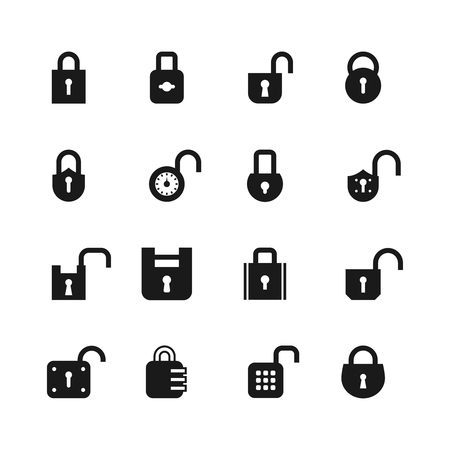 Open and closed padlock icons. Lock, security and password vector isolated symbols. Open lock, safety protection illustration