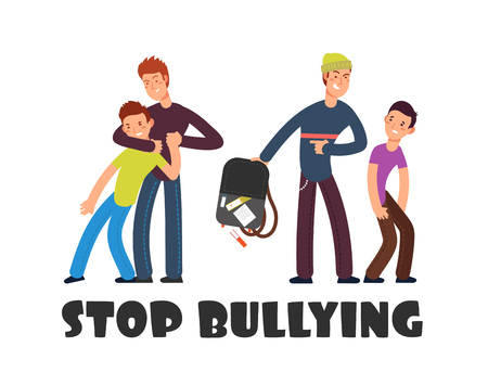 Stop bullying concept. Sad helpless kid. Negative persons and victim. Social problems vector background. Illustration of violence and harassment, bully childhood