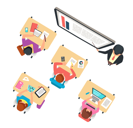 Classroom top view. Children and teacher studying in school class with blackboard vector illustration. Teacher lesson education, elementary lecture school Ilustração