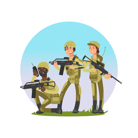 Group of soldiers vector illustration. Military male and female cartoon character isolated on white Vettoriali