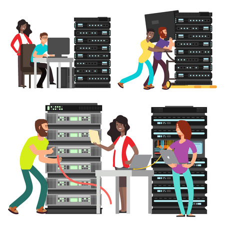 International team of computer engineers working in server room. Digital computer center support. Vector illustration