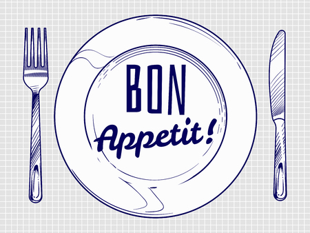 Dinner plate with knife and fork. Doodle sketch tableware and dish. Restaurant vector poster and banner illustration