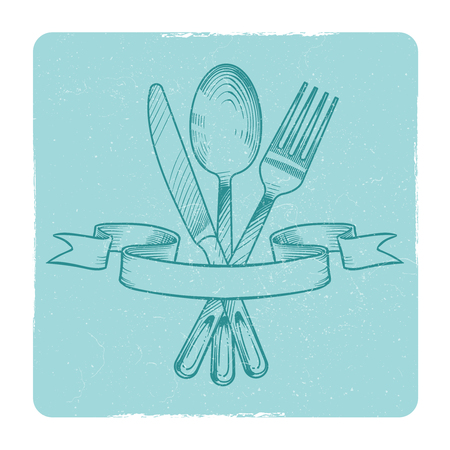 Hand drawn knife, spoon and fork in retro banner ribbons isolate on white. Vector illustration