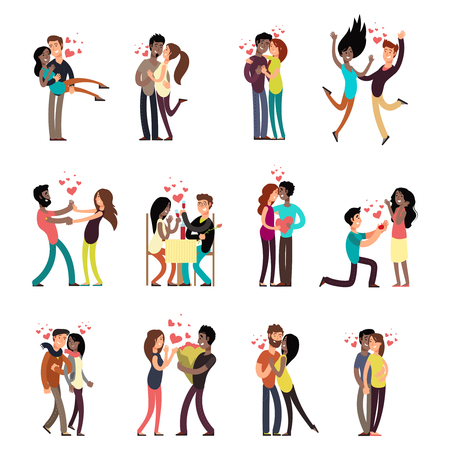 Happy young interracial couples in love collection vector cartoon characters illustration