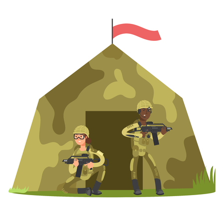 Cartoon character soldier with gun and military tent isolated on white vector illustration