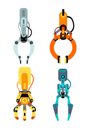 Robot industrial claws. Machine claw gripping gaming device for risk game vector set isolated. Mechanical industry grabber machine, robot tool illustration
