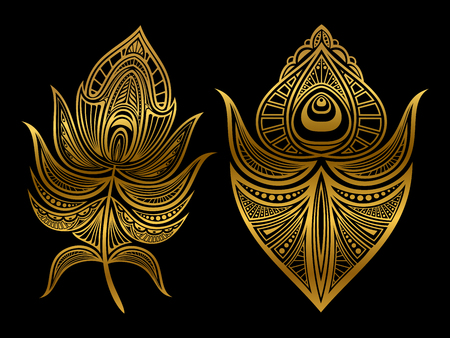 Golden abstract feathers of set isolated on black background. Vector illustration Ilustrace