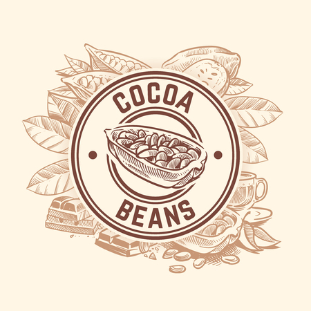 Cocoa bean tree. Chocolate cacao sketch vector wallpaper. Sketch cacao emblem, round stylization illustration Vetores