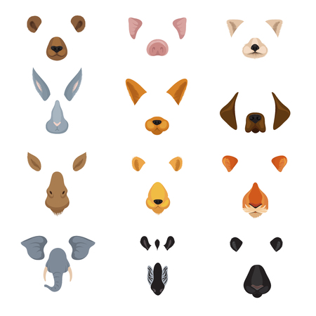 Funny animal faces for phone video chart app. Cartoon animals ears and noses vector set. Animal face and funny effect mask illustration
