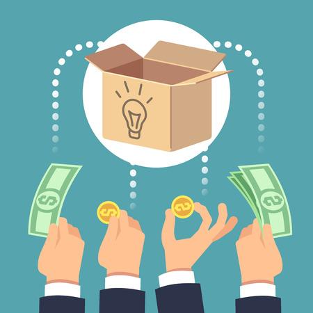 Crowdfunding-Konzept. Social Business Fundraising und Investition in neue Ideen. Sponsoring und Investition in das Projekt. Vektorhintergrundillustration