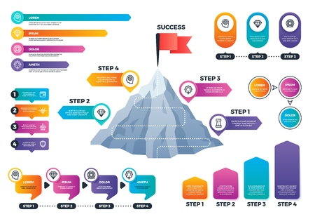 Steps to success infographics. Mountain graph with levels, achievement and mission business vector charts. Presentation graph and chart, diagram step data infographic illustration