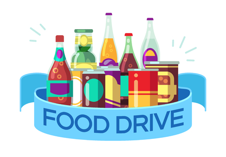 Christmas food drive. Canned soup and drinks, gift homeless vector concept. Illustration of drink soup, canned tomato