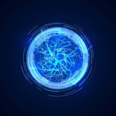 Portail. Fond de concept abstrait avec la foudre électrique. Illustration vectorielle de future communication. Éclair lumineux électrique d'énergie, cadre de lueur de cercle