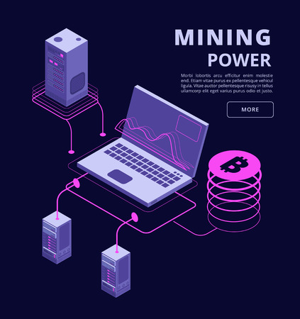 Cryptocurrency, blockchain, token trading, bitcoin farms and ico vector 3d isometric concept. Bitcoin money on computer mining, technology crypto currency illustration